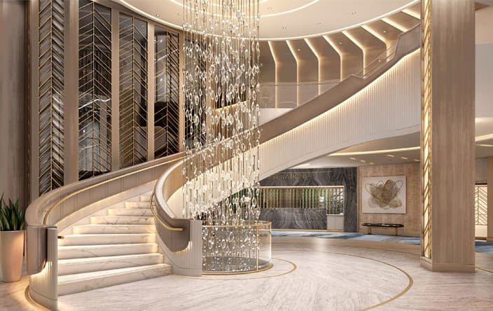 Oceania Cruises Unveils Vista Signature Spaces - The Grand Staircase: A Welcome Unlike Any Other (May 2021)