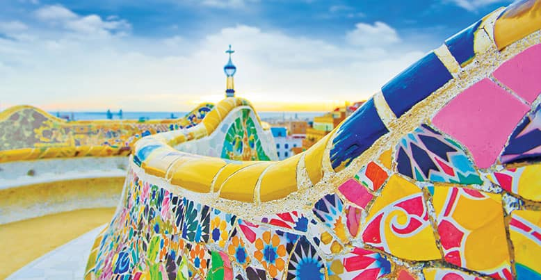 Parc Guell bench designed by Antoni Gaudi, Barcelona, Spain