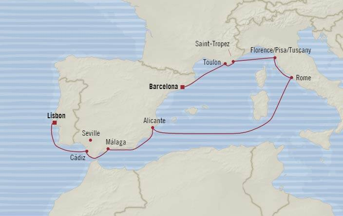 Image result for OCEANIA 10 DAY BARCELONA TO LISBON ITINERARY MAP