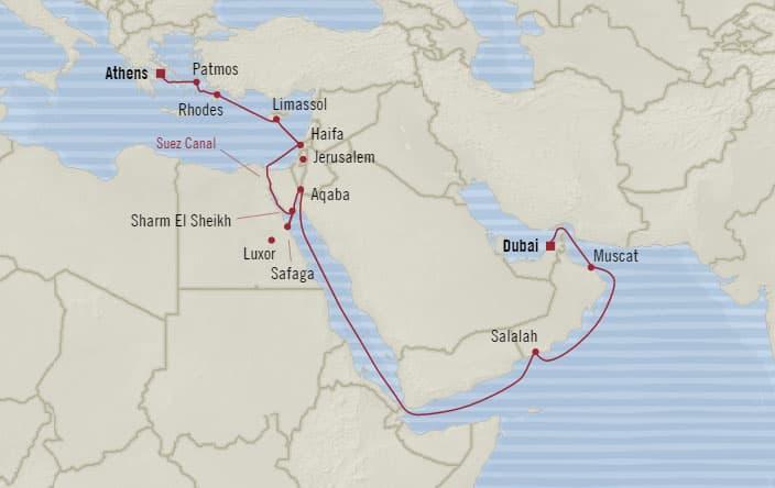 Oceania cruises 20 days from athens piraeus greece to dubai voyage map gumiabroncs Image collections