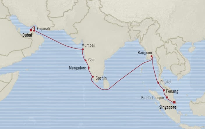 Oceania Cruises 18-days from Singapore, Singapore to Dubai, United ...