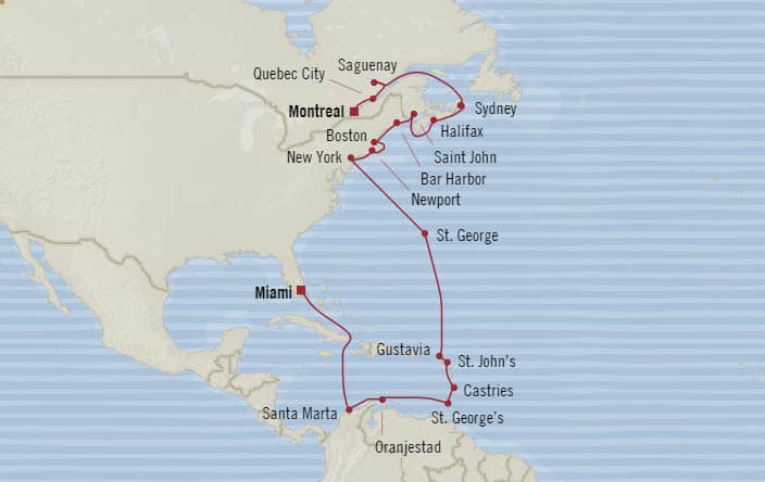 Oceania Cruises 25days from Montreal Quebec Canada to Miami