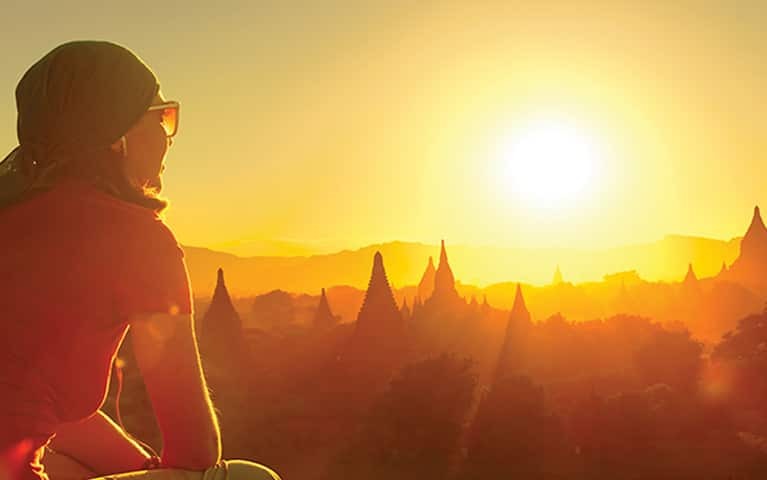 Woman exploring temples